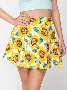 Sunflower Print Stretch Bull Denim Circle Skirt. #AmericanApparel
