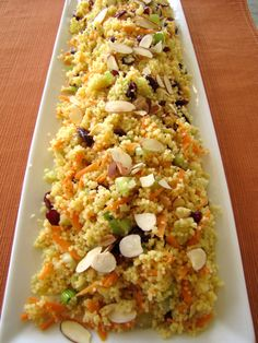 Couscous salad with cranberries and almonds!! and other stuff but I love almond and cranberries