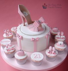 Pink Shoe celebration w/ Cup Cakes.. Another nice for a wedding cake.