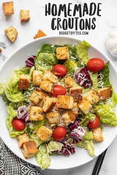 Homemade croutons are a super easy to make, and their crispy, crunchy texture takes any soup or salad to the next level! Only five ingredients! BudgetBytes.com #salad #homemade