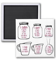 This magnet is of common kitchen measurements on hand drawn mason jars, measuring cups and spoon. #home #homedecorideas #homeorganization #homestyle #yourcute