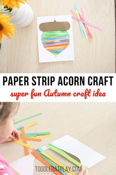 This Paper Strip Acorn Craft is such a fun Fall craft idea! Create colors, festive acorns by alternating different colors of paper strips! It's super quick to prep and looks great when finished! #acorncrafts #fallcrafts #kidscrafts #fallcraftsforkids