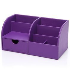 Amazon.com : KINGOM™ 7 Storage Compartments Multifunctional PU Leather Office Desk Organizer, Desktop Stationery Storage Box Collection, Business Card/Pen/Pencil/Mobile Phone /Remote Control Holder Desk Supplies Organizer (Purple) : Office Products