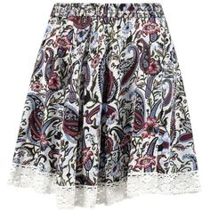 Boohoo Alegra Floral Crochet Trim Skater Skirt | Boohoo (£7.32) ❤ liked on Polyvore featuring skirts, flared skirt, circle skirt, rayon skirt and skater skirt