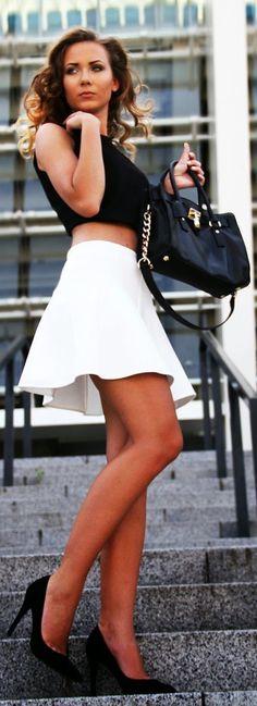 Mango White Mini Skater A-skirt