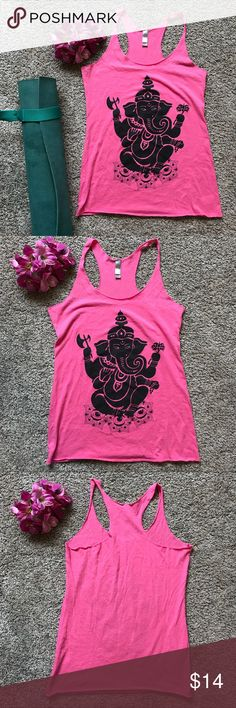 Yoga Tank 💕 Ganesha elephant bright pink yoga tank. Super soft and stretchy, never worn, in perfect condition. Size S, 15in armpit to armpit, 25.5in long. So fun! Tops Tank Tops