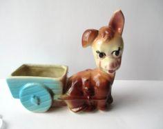 Sweet Vintage Ceramic Donkey and Cart Planter