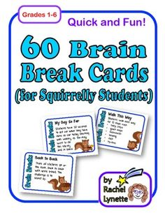 Even if you are already using brain breaks with your students, you will want to check out these 60 brain break cards. Every brain break was selected to get kids out of their seats an moving. They are quick and super fun. Lots of new ideas too! $