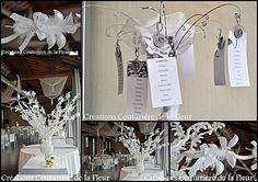 Arbre à dragée décoré d'un ballotin de dragées en forme de fleur romantique...  http://www.drageeparadise.fr/ballotins-dragees_22_ballotin-dragee-mariage_ballotin-dragee-romantique__100_1.html