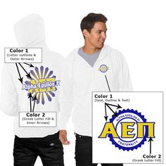 Beach Full-Zip Hooded T-Shirt Fraternity Design - Tultex 0260TC
