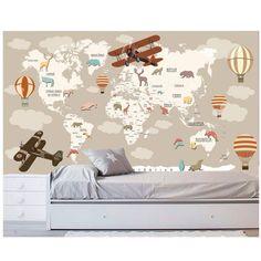 Adesivo Mapa Mundi Infantil Papel Parede Avião Nuvens M102 nas Lojas Americanas.com Capacity Building, Baby List, Baby Bedroom, Display Design, Kids Nutrition, Decoration, Toddler Bed, Internet, Furniture