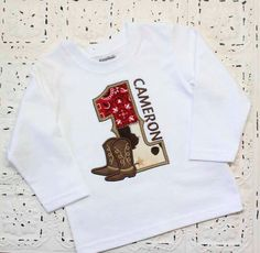 This listing is for a cowboy boots shirt in the size and number you need! Celebrate their first birthday with this adorable personalized birthday Cowboy Theme Party, Cowboy Birthday Party, Farm Birthday, Boy Birthday Parties, Birthday Shirts, Birthday Ideas, Anniversaire Cow-boy, Wild West Party, Twin First Birthday
