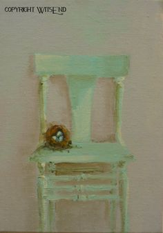'ROBINS EGG BLUES', Chair Nest painting original still life art aqua robins egg blue  FREE shipping in USA.  by WitsEnd, via Etsy. SOLD