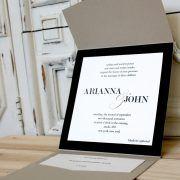 New York Black and Tan Pocket Wedding Invitation – Citrine Designs