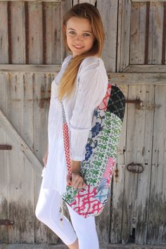 Yoga bag in lovely happy patchwork from Ibiza by AUROBELLE on Etsy