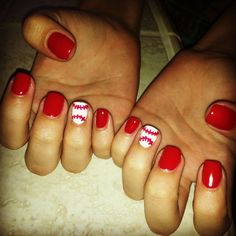 baseball gel nails - Google Search