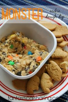 Monster Cookie Dough Dip | Safe-to-eat (no raw eggs) and immensely addictive, this dip is perfect for snack time!