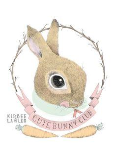 Cute Bunny Club Open Edition A4 Illustration Print