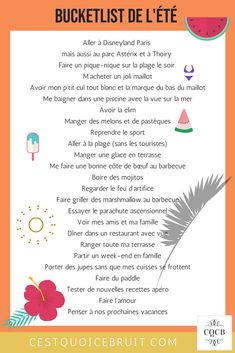 Summer bucketlist, ces choses que j'ai envie de faire en été #summer #bucketlist #feelgood #zen #été #inspiration