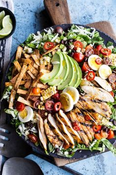 Mexican Grilled Chicken Cobb Salad, the classic chicken cobb salad turned Mexican with seasoned baked tortilla chips - so good! From halfbakedharvest.com