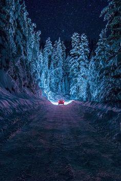 Snowy night in Bulgaria