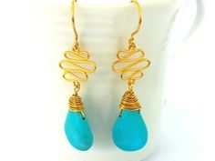 Turquoise Gemstone Earrings with 22ct gold wire vermeil. Boho ...