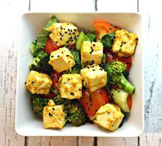 lemon turmeric Tofu over veggies