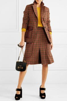 Prada | Leather-trimmed checked wool-blend tweed blazer | NET-A-PORTER.COM