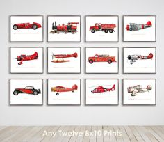 Red vehicles print collection - by plane, by train, by automobile - fun mix and match look for a transportation room