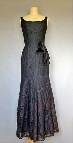 Vintage 1960's black lace cocktail dress with fishtail...so pretty