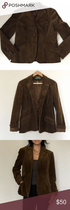 "Ralph Lauren Corduroy Women's Blazer Coat Like new! Lauren RALPH LAUREN Corduroy Blazer Large Wide whale corduroy. Chocolate Brown. Leather buttons. 3 pockets 1 chest pocket. Fully lined. Length 26"" • Bust 20"" • Arm length from shoulder 24"" Lauren Ralph Lauren Jackets & Coats"