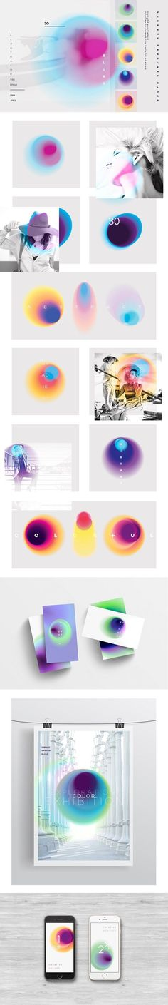 Vibrant gradient blurs – Textures – This unique colorful set of 30 vibrant abstract spots and flecks will be ideal for contemporary designs, they can be used in a minimalistic way, as overlays on photos or. Poster Art, Design Poster, Poster Designs, Web Design, Layout Design, Design Styles, Blur, Design Package, Creative Typography