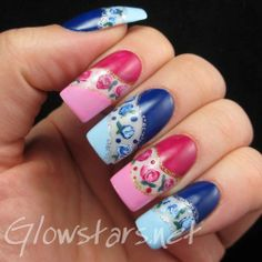 A rose manicure using Color Club Take Me To Your Chateau, Color Club I Believe In Amour, China Glaze Manhunt, China Glaze Designer Satin, Ch...