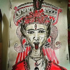 """FridA Kali #Frida #Kahlo meets #Indian #goddess #kali #art #India #draw #thisismyart #sketch #sketchoftheday #illustration #graphic #graphicdesign #god #painting #artist on sketchbook by @rubberband_kit"" Photo taken by @sharmaparul_ on Instagram, pinned via the InstaPin iOS App! http://www.instapinapp.com (08/20/2015)"