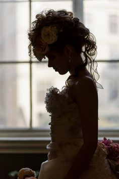 Silhouette - Guildhall, Bath. Long bridal hair, curls, floral headdress, faux Mohawk, Hair by Sam at www.bathbridalhair.com, Manor House Photography, Corsets, Little Miss Chic, Model Lottie at www.facebook.com/The-Twig-Model