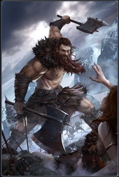 m Barbarian Hide Armor Dual Axe male battle Mountains Wilderness lg Viking Warrior, Art Viking, Viking Woman, Dungeons And Dragons Characters, Dnd Characters, Fantasy Characters, Fictional Characters, High Fantasy, Fantasy Rpg