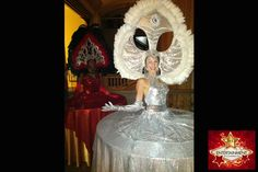 Showgirl style strolling table diva by J & D Entertainment Houston, Houston human table, living table, silver headpiece