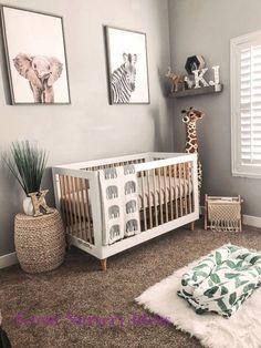 Baby Girl Nursery Room İdeas 659847782885953329 – neutral safari baby nursery with zebra, elephant and giraffe art Source by OhBabyTemplates