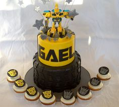 Transformer birthday cake and cupcakes