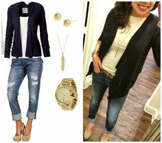 Pinterest Told Me To recreation with a black waterfall cardigan, a white tee, cuffed jeans, suede wedges, and gold jewelry!