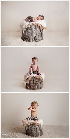 Watch Baby Grow, Time Lapse, Time Progressions, Newborn Baby Photography, Tree stump prop, Baby Bare Photography https://www.facebook.com/BabyBarePhotography www.babybarephoto.com