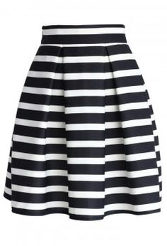 Stripes Pleated Tulip Skirt - Retro, Indie and Unique Fashion