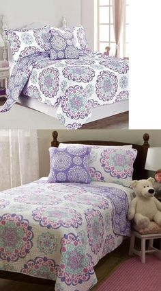 Quilts 66730 Twin Full Queen Bed Purple White Medallion 4pc Cotton Quilt Set Coverlet Bedding