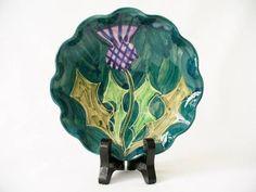 Studio Art Pottery Pin/Trinket Dish - Thistle Decoration - Grail Pottery in Pottery, Porcelain & Glass, Pottery, Art Pottery | eBay
