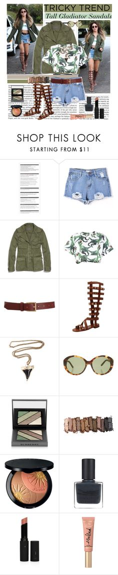 """Get the LOOK:Gladiator Sandals"" by bamaannie ❤ liked on Polyvore featuring Victoria Beckham, Arche, Madewell, Au Jour Le Jour, Barneys New York, Ivy Kirzhner, Givenchy, The Row, Burberry and Urban Decay"