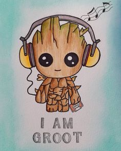 My little baby groot, loved this buddy. The cute music lover🌿🌳 My little baby groot, loved this buddy. The cute music lover🌿🌳 Cute Disney Drawings, Cool Art Drawings, Drawing Disney, Cute Cartoon Drawings, Colorful Drawings, Pencil Drawings, Cute Disney Wallpaper, Cute Cartoon Wallpapers, Baby Groot Drawing