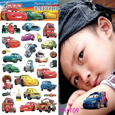 Racing Car Child Temporary Tattoo Body Art Flash Tattoo Stickers 21*10cm Waterproof Tatoo Car Styling Wall Sticker