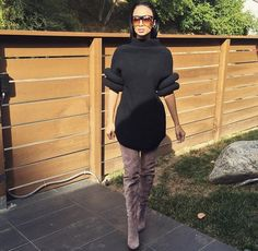 Draya Michele posed up on the 'Gram wearing a sweater dress and thigh high boots.