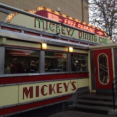 Mickey's Diner St Paul, Minnesota. Mickeys diner is a 50's themed diner in a train car, so its small but they have great food and if you traveling through its a great place to stop! Many famous people have been there too, they have the list on their menu!