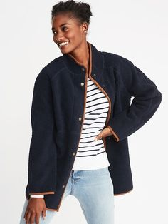 Old Navy Long Sherpa Faux-Suede Lined Coat for Women Line Jackets, Jackets For Women, Coats 2018, Old Navy Coats, Shop Old Navy, Mandarin Collar, Girls Shopping, Style Me, Womens Fashion